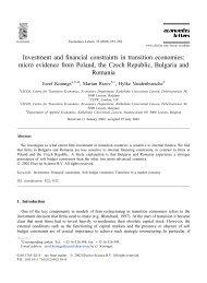 Investment in transition economies