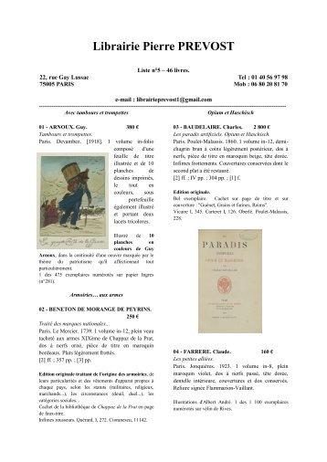 Librairie Pierre PREVOST - Livre Rare Book