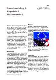 Samfundsfag A, engelsk A, matematik B