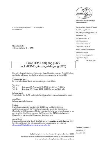 Ausschreibung EH-Ausbildung 2013 extern - DLRG - Ludwigshafen ...
