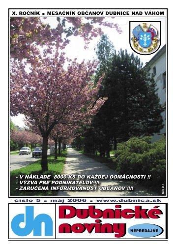 dubnické noviny č. 5 - máj 2006 - Dubnica nad Váhom