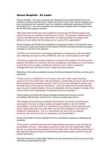 Hemas Hospitals - Sri Lanka - Australian Council on Healthcare ...