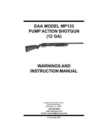 eaa model mp133 pump action shotgun (12 ga) warnings
