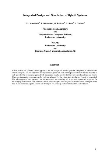 Integrated Design and Simulation of Hybrid Systems