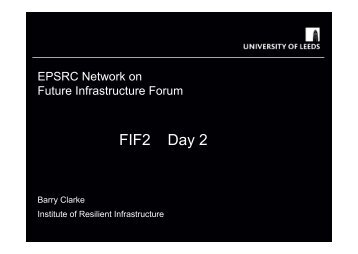 Barry Clarke - Future Infrastructure Forum