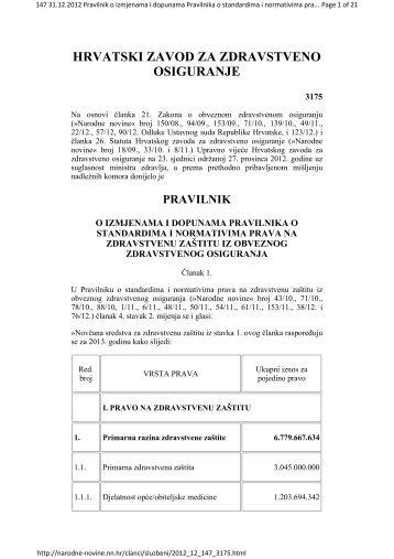 Pravilnik o standardima i normativima prava na zdravstvenu zaštitu ...