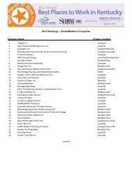 2013 Rankings – Small/Medium Companies - Kentucky Chamber of ...