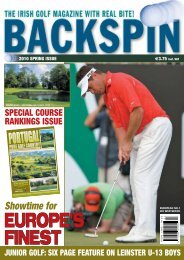2010 SPRING ISSUE 3.75 Incl. VAT - Backspin Golf Magazine