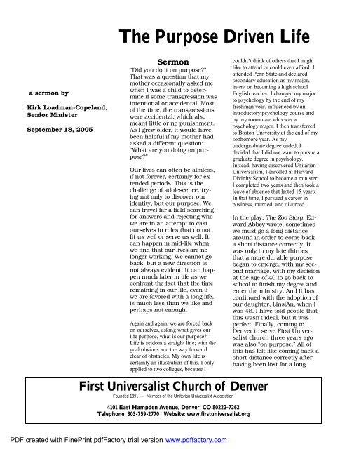 The Purpose Of The Church Pdf