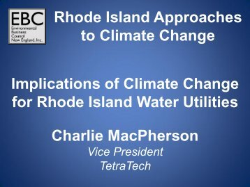 Rhode Island Approaches to Climate Change Implications of ...