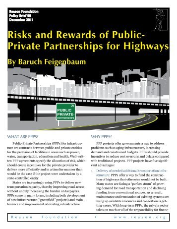 Risks and Rewards of Public-Private Partnerships for Highways