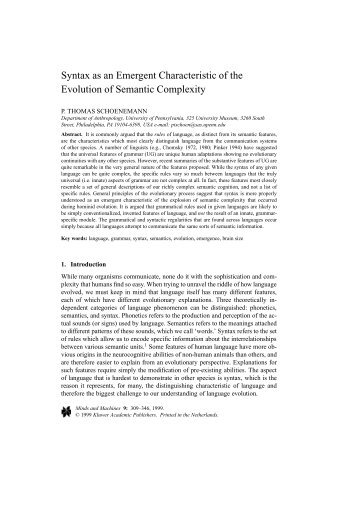 Syntax as an Emergent Characteristic of the Evolution of Semantic ...