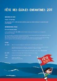 Fête des écoles enfantines 2011 - programme - Ville de Genève