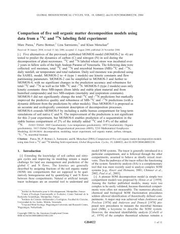Comparison of five soil organic matter decomposition models using ...