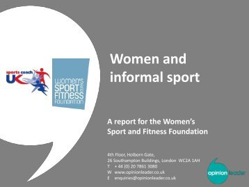 Women and Informal Sport - sports coach UK
