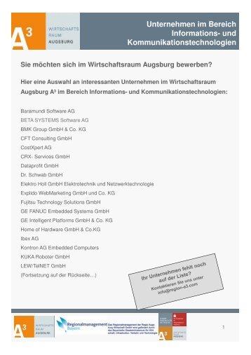und Kommunikationstechnologien - im Wirtschaftsraum Augsburg.