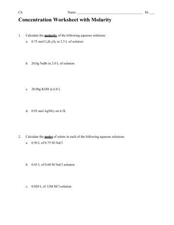 04-17-13 Molarity Worksheet Ch - Whitnall High School