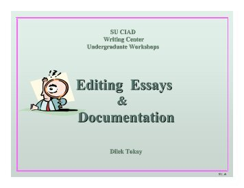 Editing Essays & Documentation - CENTER FOR INDIVIDUAL and ...