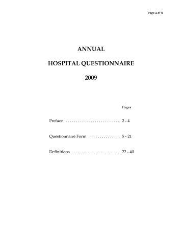 Notes to the 2009 Annual Hospital Questionnaire - Illinois Health ...