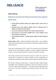 Reliance Commercial Finance launches loan ... - Reliance Capital