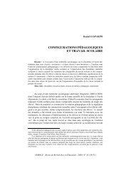 Configurations pédagogiques et travail scolaire » - Spirale 33