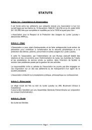 STATUTS - Lycée Lyautey