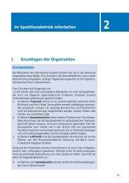 Im Speditionsbetrieb mitarbeiten 1 Grundlagen der Organisation