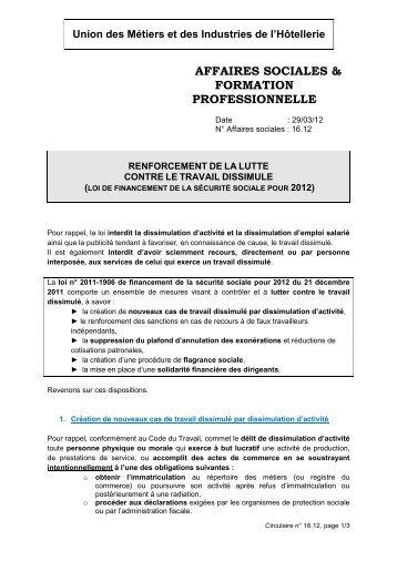 RENFORCEMENT DE LA LUTTE CONTRE LE TRAVAIL DISSIMULE