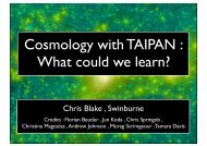 Cosmology with TAIPAN : What could we learn?