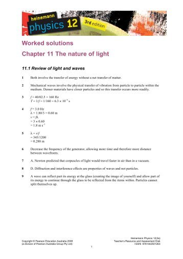 Worked solutions Chapter 11 The nature of light - PEGSnet