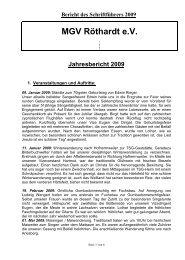 MGV Röthardt eV Jahresbericht 2009 - Männergesangverein ...