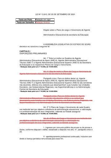 LEI Nº 13.910, DE 25 DE SETEMBRO DE 2001. Texto em Preto ...