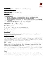 Advisory Name: Cross-Site Scripting (XSS) in Blackberry ... - Cybsec