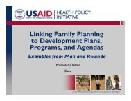Linking Family Planning to Development Plans, Programs, and ...