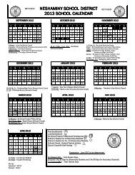 2012 - 2013 School Calendar - Neshaminy School District