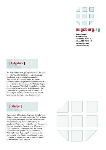 Aufgaben - im Wirtschaftsraum Augsburg.