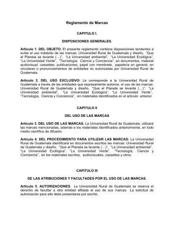 Reglamento de Marcas - Universidad Rural de Guatemala
