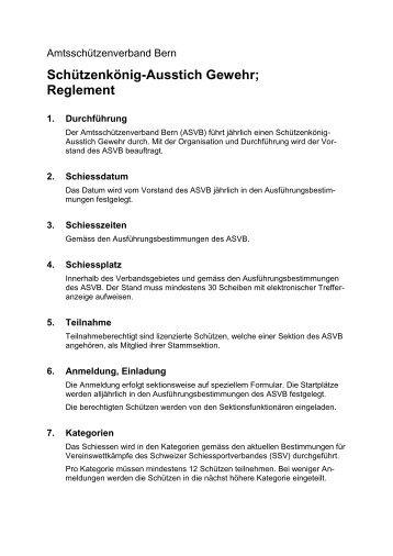 Schützenkönig-Ausstich Gewehr; Reglement - ASVB