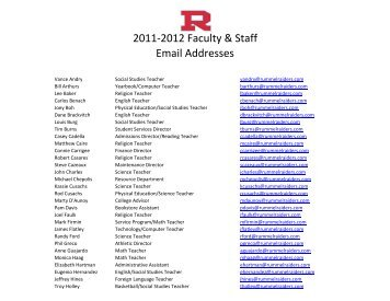 2011-2012 Faculty & Staff Email Addresses