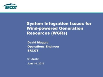 System Integration Issues for Wind-powered Generation Resources ...
