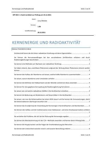 Kernenergie und Radioaktivität - limenet.ch