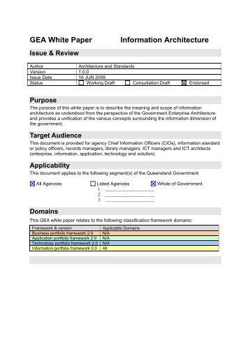 Information Architecture - qgcio - Queensland Government