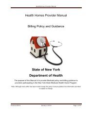 Health Homes Provider Manual-Billing Policy and Guidance