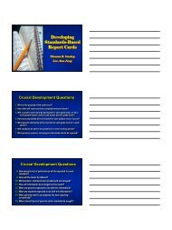 Developing Standards-Based Report Cards - NESA