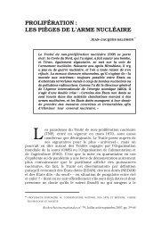 prolifération : les pièges de l'arme nucléaire - Recherches ...