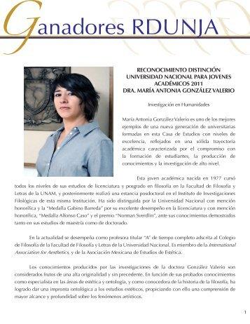 Dra. María Antonia González Valerio - dgapa unam