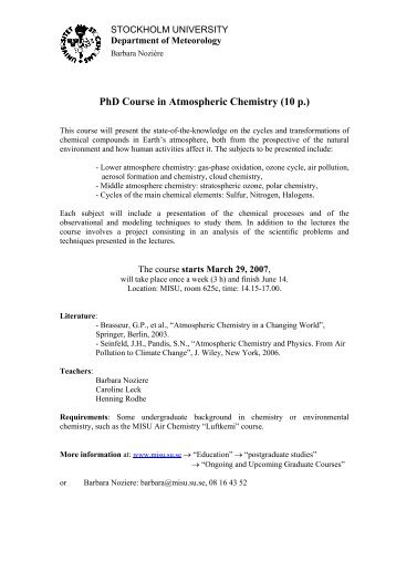 Course literature masters courses department of meteorology phd course in atmospheric chemistry department of meteorology fandeluxe Choice Image