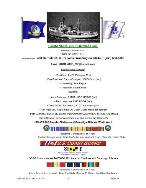 COMANCHE 202 FOUNDATION - The Coast Guard Channel