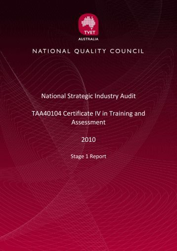 Stage 1 Report - National Skills Standards Council