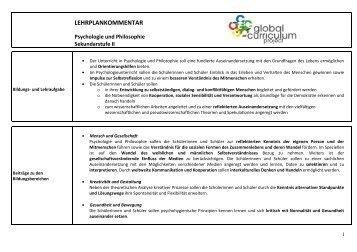Lehrplan Psychologie und Philosophie SEK II - Global Curriculum